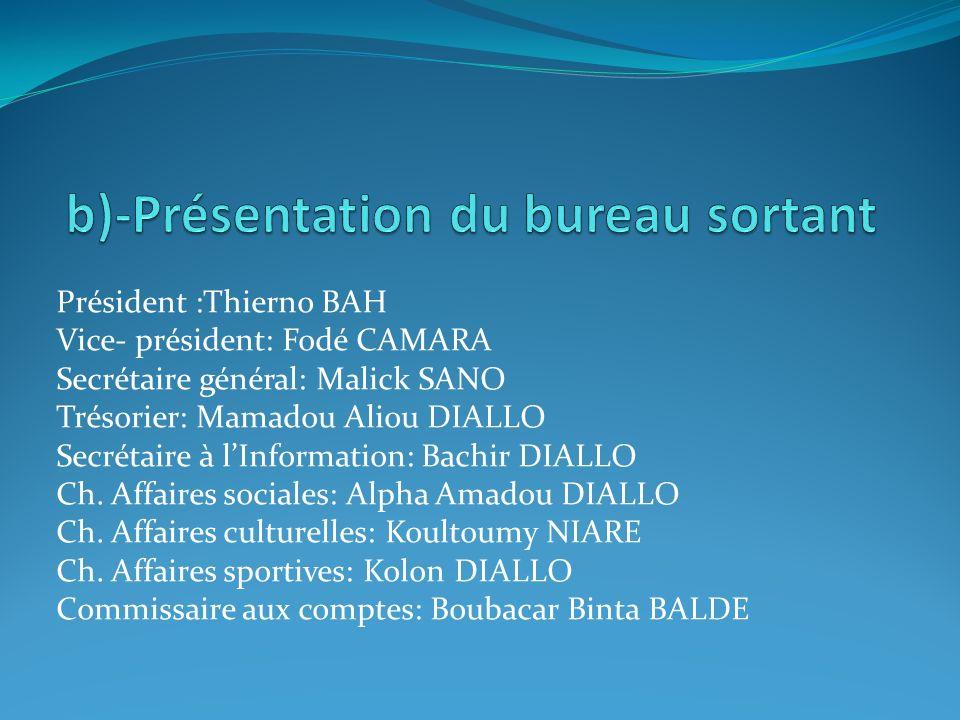 Président :Thierno BAH Vice- président: Fodé CAMARA Secrétaire général: Malick SANO Trésorier: Mamadou Aliou DIALLO Secrétaire à lInformation: Bachir
