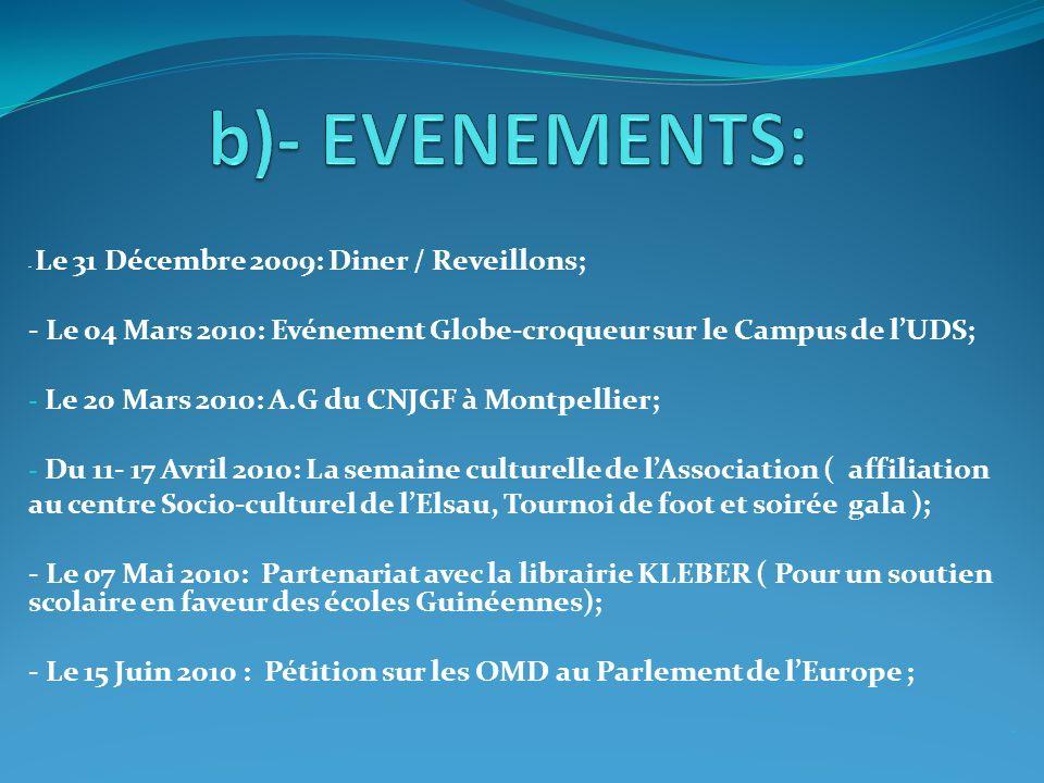 - Le 31 Décembre 2009: Diner / Reveillons; - Le 04 Mars 2010: Evénement Globe-croqueur sur le Campus de lUDS; - Le 20 Mars 2010: A.G du CNJGF à Montpe