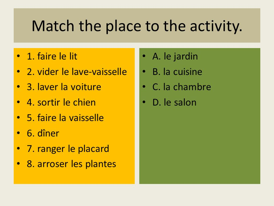 Match the place to the activity. 1. faire le lit 2. vider le lave-vaisselle 3. laver la voiture 4. sortir le chien 5. faire la vaisselle 6. dîner 7. r