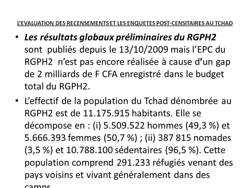 LEVALUATION DES RECENSEMENTS ET LES ENQUETES POST-CENSITAIRES AU TCHAD Les résultats globaux préliminaires du RGPH2 sont publiés depuis le 13/10/2009 mais lEPC du RGPH2 nest pas encore réalisée à cause dun gap de 2 milliards de F CFA enregistré dans le budget total du RGPH2.