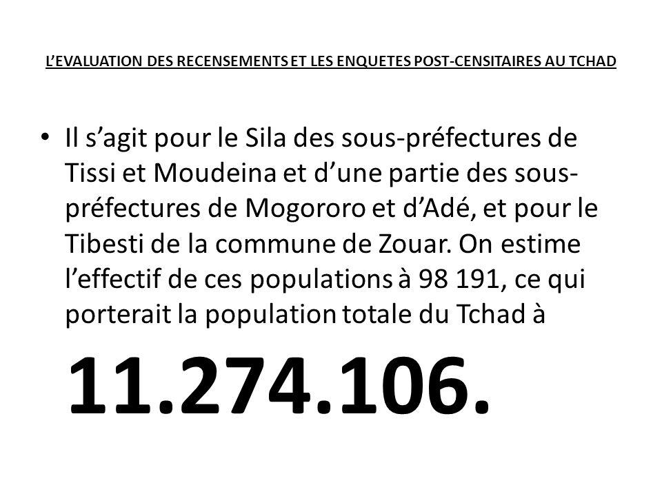 LEVALUATION DES RECENSEMENTS ET LES ENQUETES POST-CENSITAIRES AU TCHAD Il sagit pour le Sila des sous-préfectures de Tissi et Moudeina et dune partie des sous- préfectures de Mogororo et dAdé, et pour le Tibesti de la commune de Zouar.