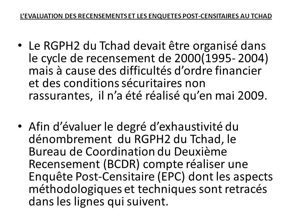 LEVALUATION DES RECENSEMENTS ET LES ENQUETES POST-CENSITAIRES AU TCHAD Le RGPH2 du Tchad devait être organisé dans le cycle de recensement de 2000(1995- 2004) mais à cause des difficultés dordre financier et des conditions sécuritaires non rassurantes, il na été réalisé quen mai 2009.