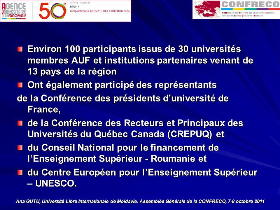 Environ 100 participants issus de 30 universités membres AUF et institutions partenaires venant de 13 pays de la région Ont également participé des représentants de la Conférence des présidents duniversité de France, de la Conférence des Recteurs et Principaux des Universités du Québec Canada (CREPUQ) et du Conseil National pour le financement de lEnseignement Supérieur - Roumanie et du Centre Européen pour lEnseignement Supérieur – UNESCO.