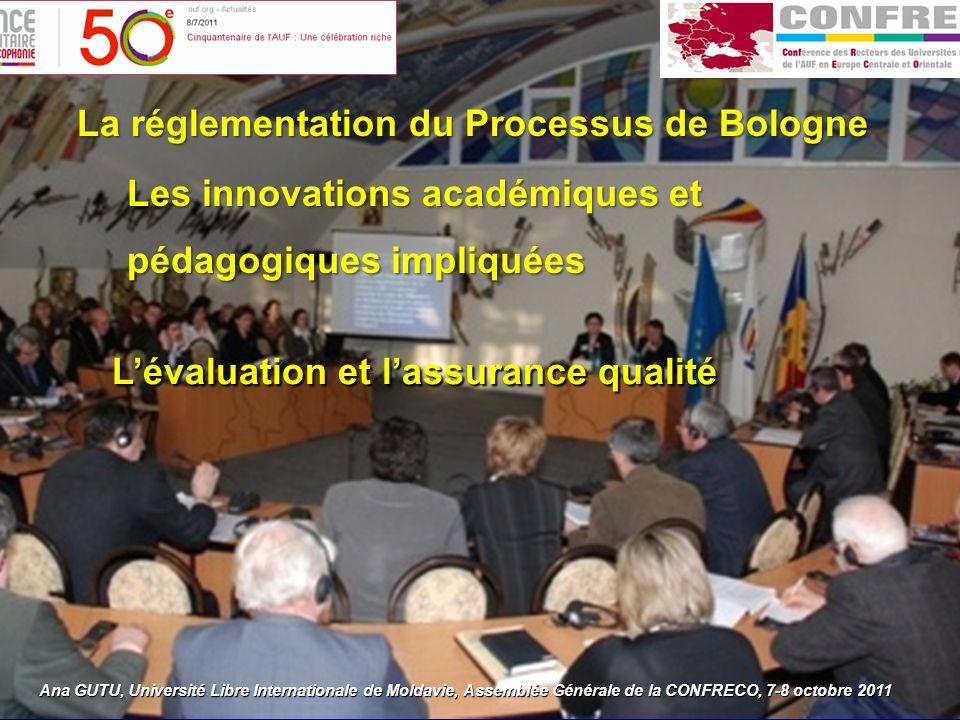 Ana GUTU, Université Libre Internationale de Moldavie, Assemblée Générale de la CONFRECO, 7-8 octobre 2011 : La réglementation du Processus de Bologne Les innovations académiques et pédagogiques impliquées Lévaluation et lassurance qualité
