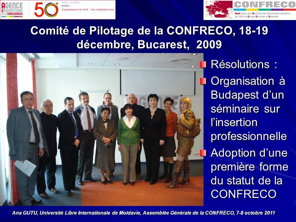 Comité de Pilotage de la CONFRECO, 18-19 décembre, Bucarest, 2009 Résolutions : Organisation à Budapest dun séminaire sur linsertion professionnelle Adoption dune première forme du statut de la CONFRECO Ana GUTU, Université Libre Internationale de Moldavie, Assemblée Générale de la CONFRECO, 7-8 octobre 2011