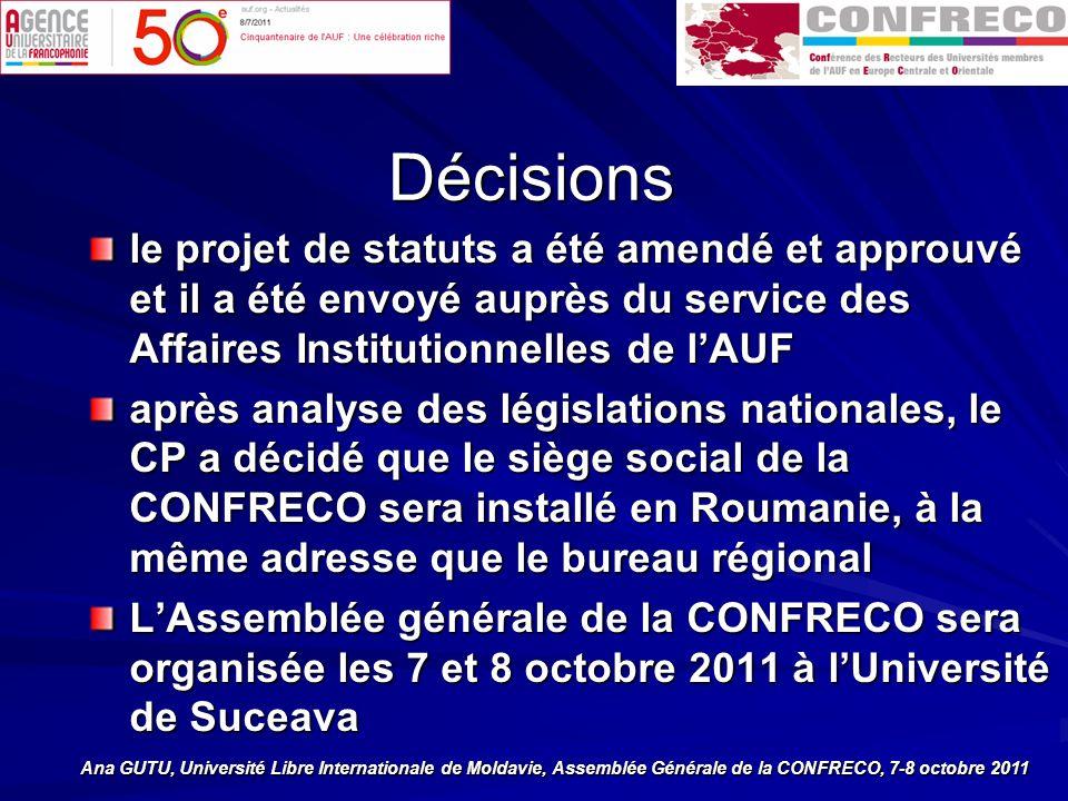 Décisions le projet de statuts a été amendé et approuvé et il a été envoyé auprès du service des Affaires Institutionnelles de lAUF après analyse des législations nationales, le CP a décidé que le siège social de la CONFRECO sera installé en Roumanie, à la même adresse que le bureau régional LAssemblée générale de la CONFRECO sera organisée les 7 et 8 octobre 2011 à lUniversité de Suceava Ana GUTU, Université Libre Internationale de Moldavie, Assemblée Générale de la CONFRECO, 7-8 octobre 2011