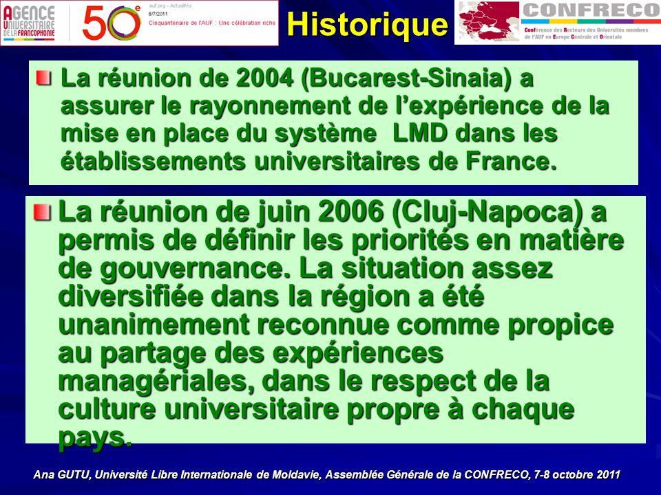 La réunion de 2004 (Bucarest-Sinaia) a assurer le rayonnement de lexpérience de la mise en place du système LMD dans les établissements universitaires de France.
