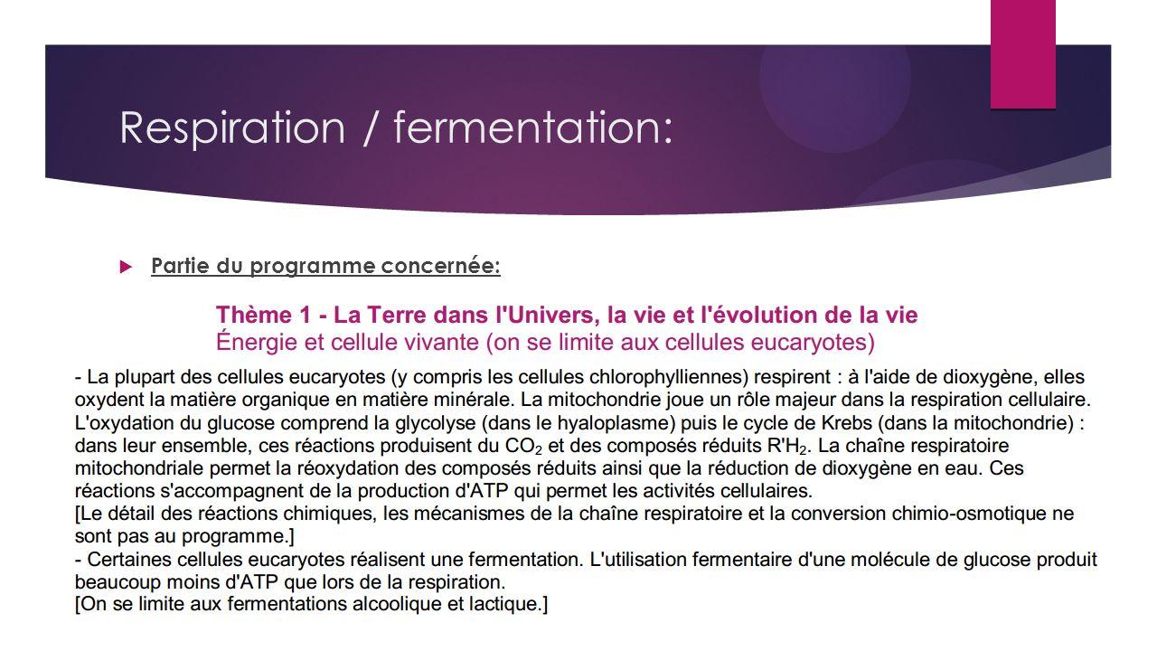 Respiration / fermentation: Partie du programme concernée: