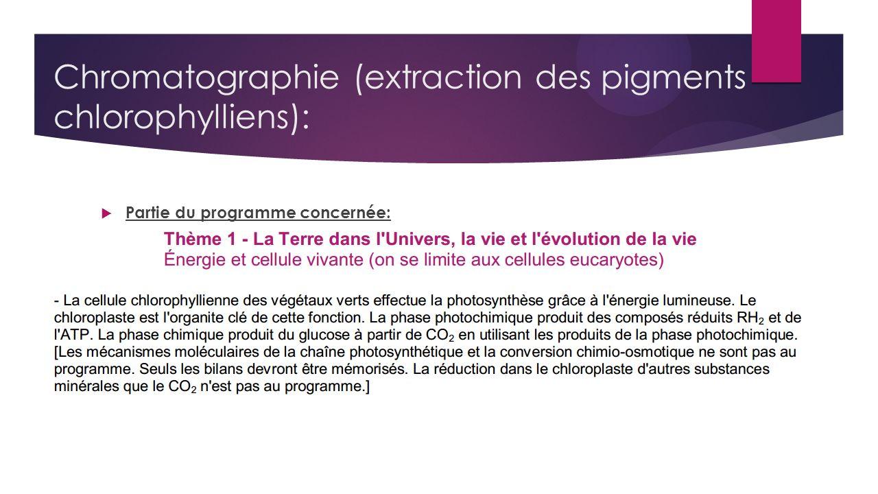 Chromatographie (extraction des pigments chlorophylliens): Partie du programme concernée: