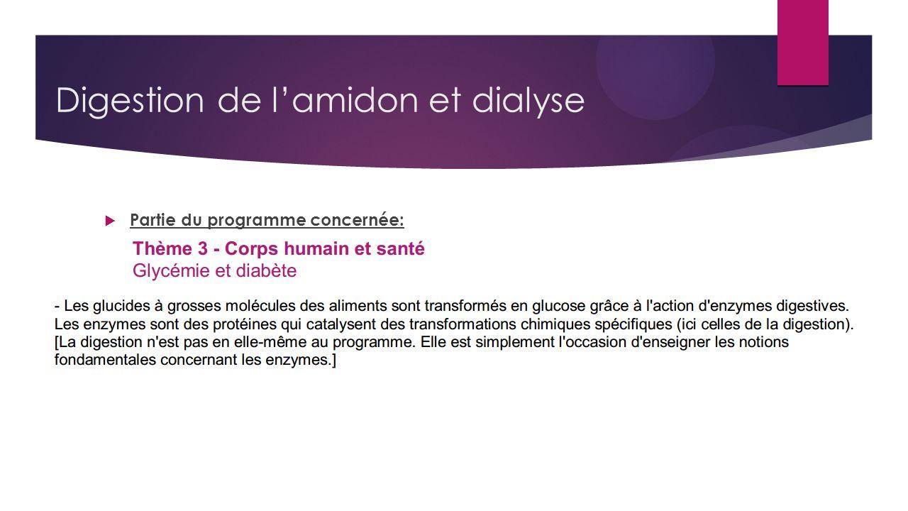 Digestion de lamidon et dialyse Partie du programme concernée: