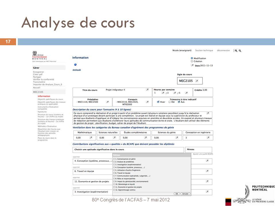 Les systèmes pédagogiques intégrés 80 e Congrès de lACFAS – 7 mai 2012 Analyse de cours 17