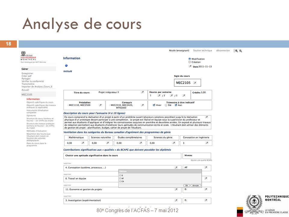 Les systèmes pédagogiques intégrés 80 e Congrès de lACFAS – 7 mai 2012 Analyse de cours 18