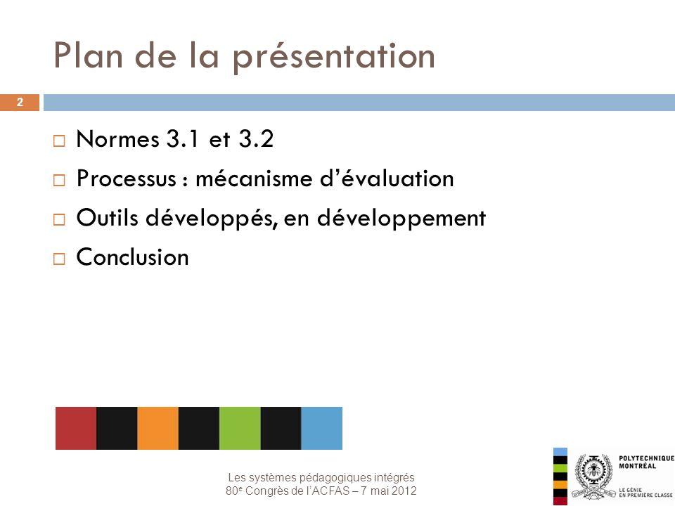 Les systèmes pédagogiques intégrés 80 e Congrès de lACFAS – 7 mai 2012 Plan de la présentation 2 Normes 3.1 et 3.2 Processus : mécanisme dévaluation Outils développés, en développement Conclusion