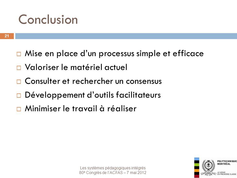 Les systèmes pédagogiques intégrés 80 e Congrès de lACFAS – 7 mai 2012 Conclusion 21 Mise en place dun processus simple et efficace Valoriser le matér