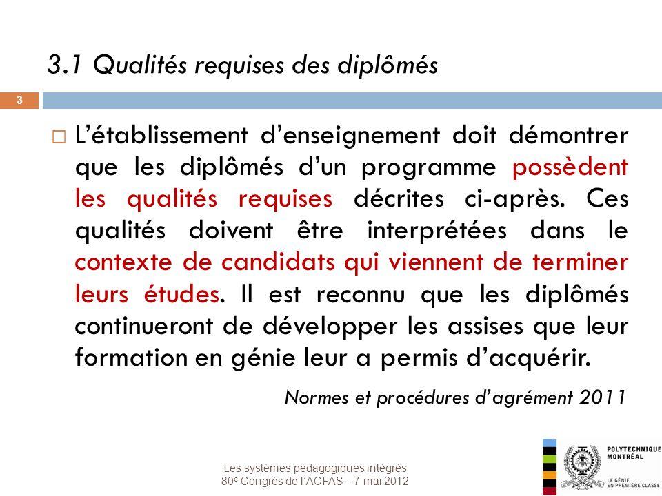 Les systèmes pédagogiques intégrés 80 e Congrès de lACFAS – 7 mai 2012 3 3.1 Qualités requises des diplômés Létablissement denseignement doit démontrer que les diplômés dun programme possèdent les qualités requises décrites ci-après.