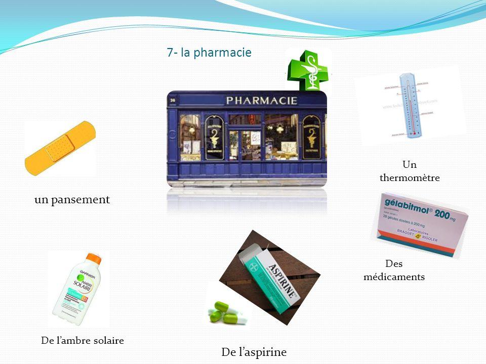 7- la pharmacie un pansement De laspirine De lambre solaire Un thermomètre Des médicaments