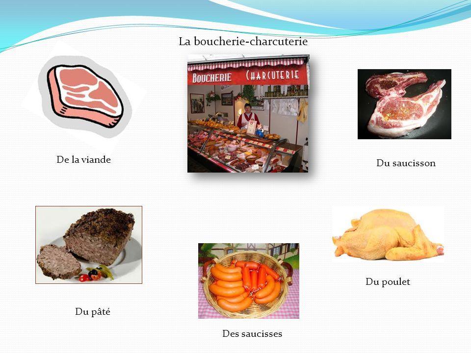 La boucherie-charcuterie Du saucisson De la viande Du pâté Des saucisses Du poulet