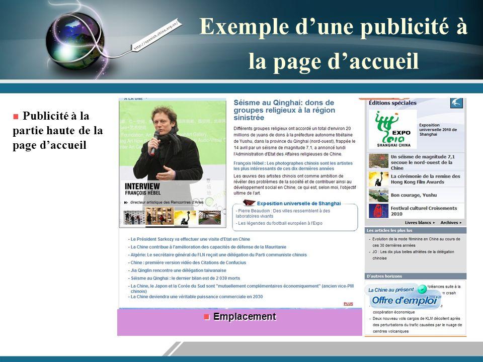 Exemple dune publicité à la page daccueil Publicité à la partie haute de la page daccueil Publicité à la partie haute de la page daccueil Emplacement Emplacement