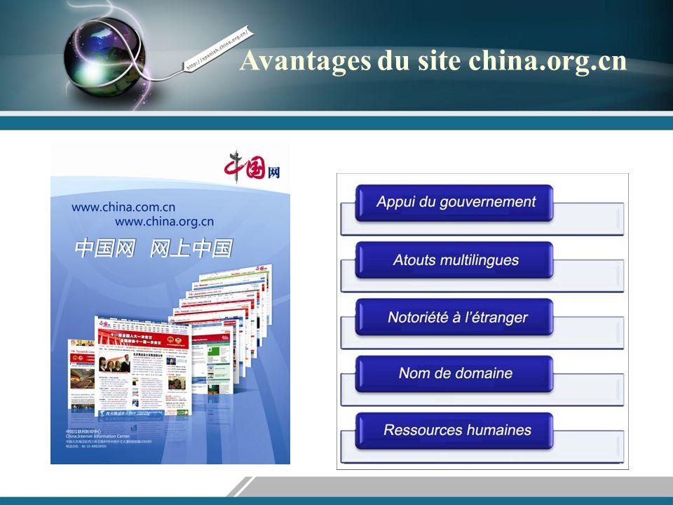 Appui du gouvernement Le site china.org.cn a noué des liens étroits de coopération avec Le Bureau de lInformation du Conseil des affaires dÉtat, ainsi que des ministères et des commissions dÉtat (par exemple le ministère de la Science et de la Technologie, le ministère de la Sécurité publique, le ministère de la Culture, le ministère de lÉducation).