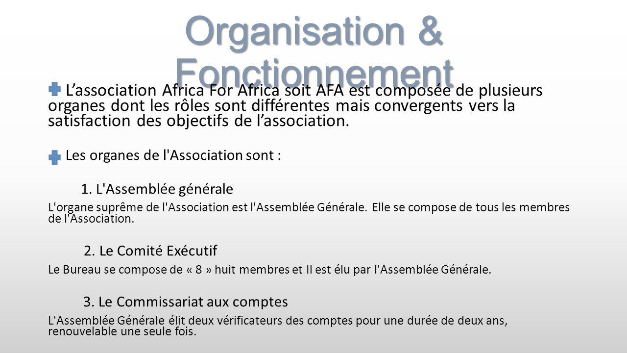 Organisation & Fonctionnement Lassociation Africa For Africa soit AFA est composée de plusieurs organes dont les rôles sont différentes mais convergen