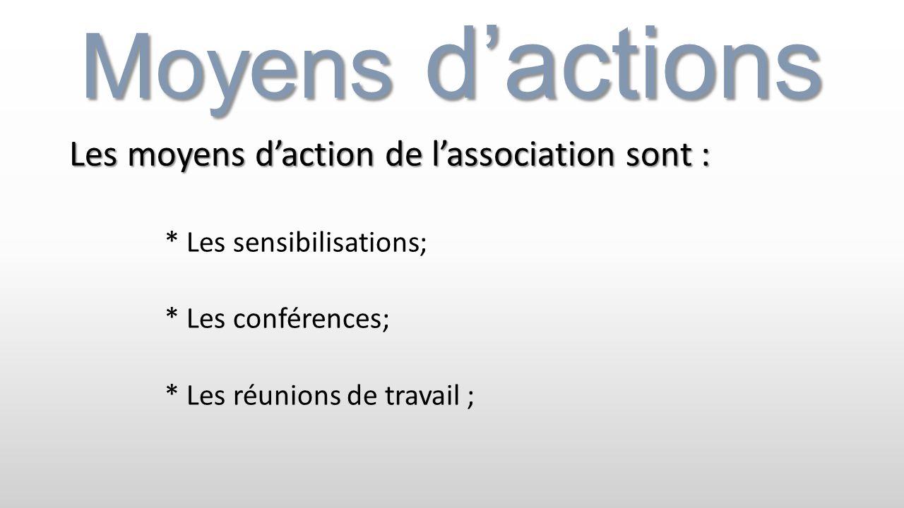 Moyens dactions Les moyens daction de lassociation sont : * Les sensibilisations; * Les conférences; * Les réunions de travail ;