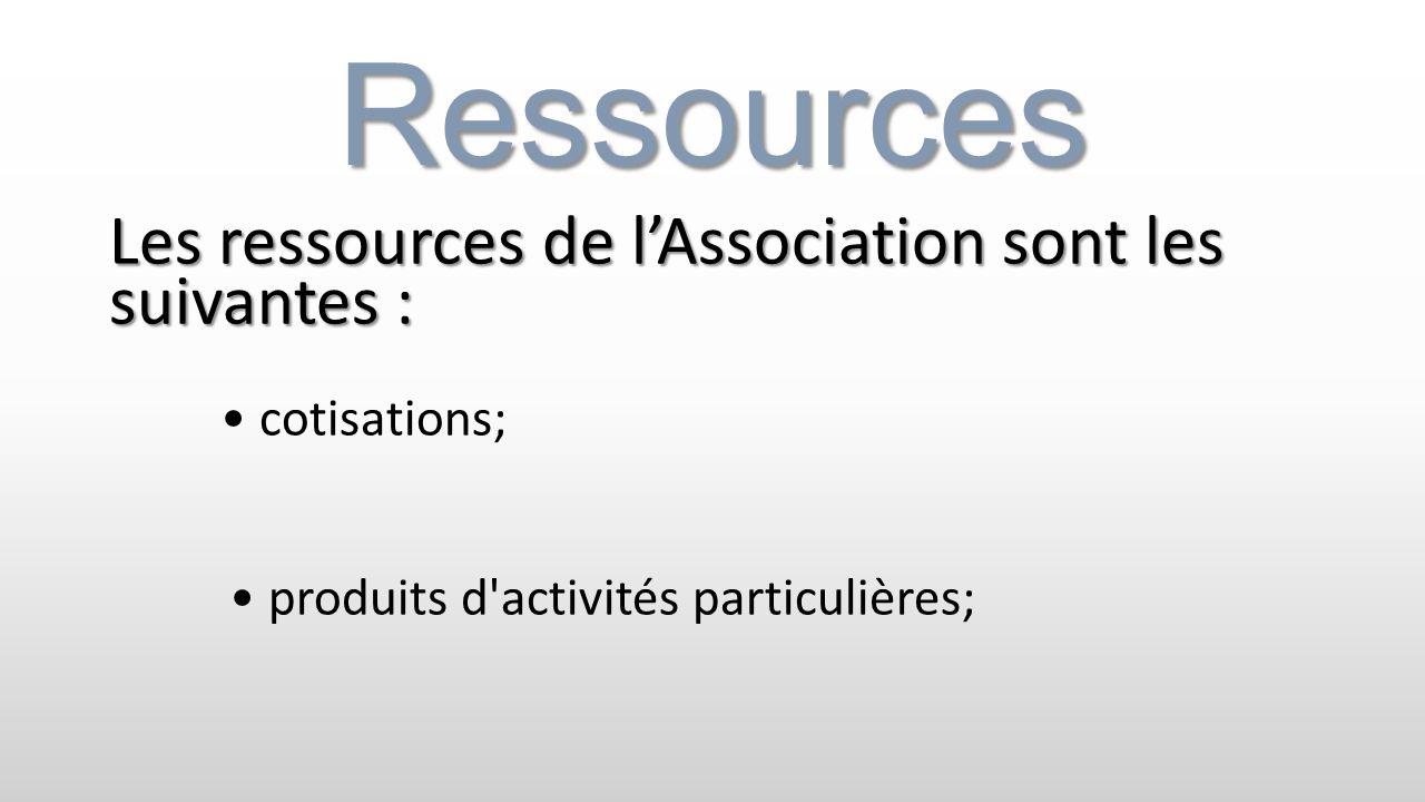 Ressources Les ressources de lAssociation sont les suivantes : cotisations; produits d'activités particulières;