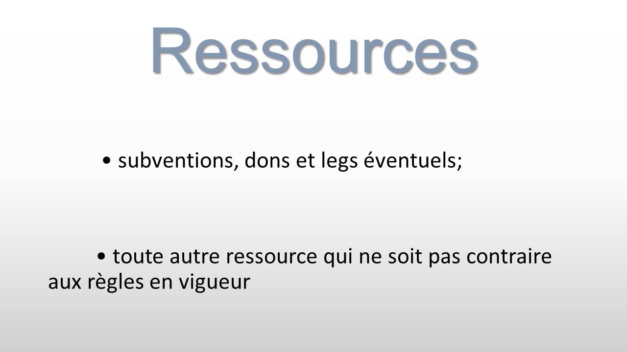 Ressources subventions, dons et legs éventuels; toute autre ressource qui ne soit pas contraire aux règles en vigueur