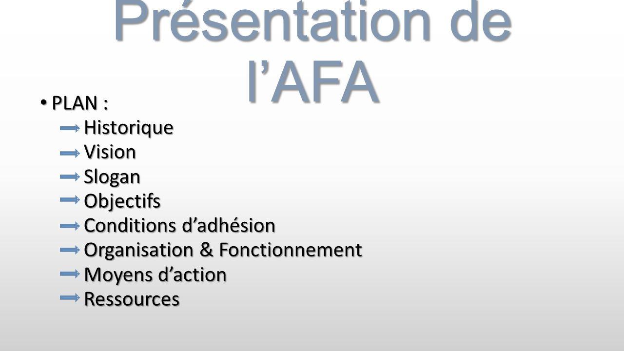 Présentation de lAFA PLAN : PLAN : Historique Historique Vision Vision Slogan Slogan Objectifs Objectifs Conditions dadhésion Conditions dadhésion Org