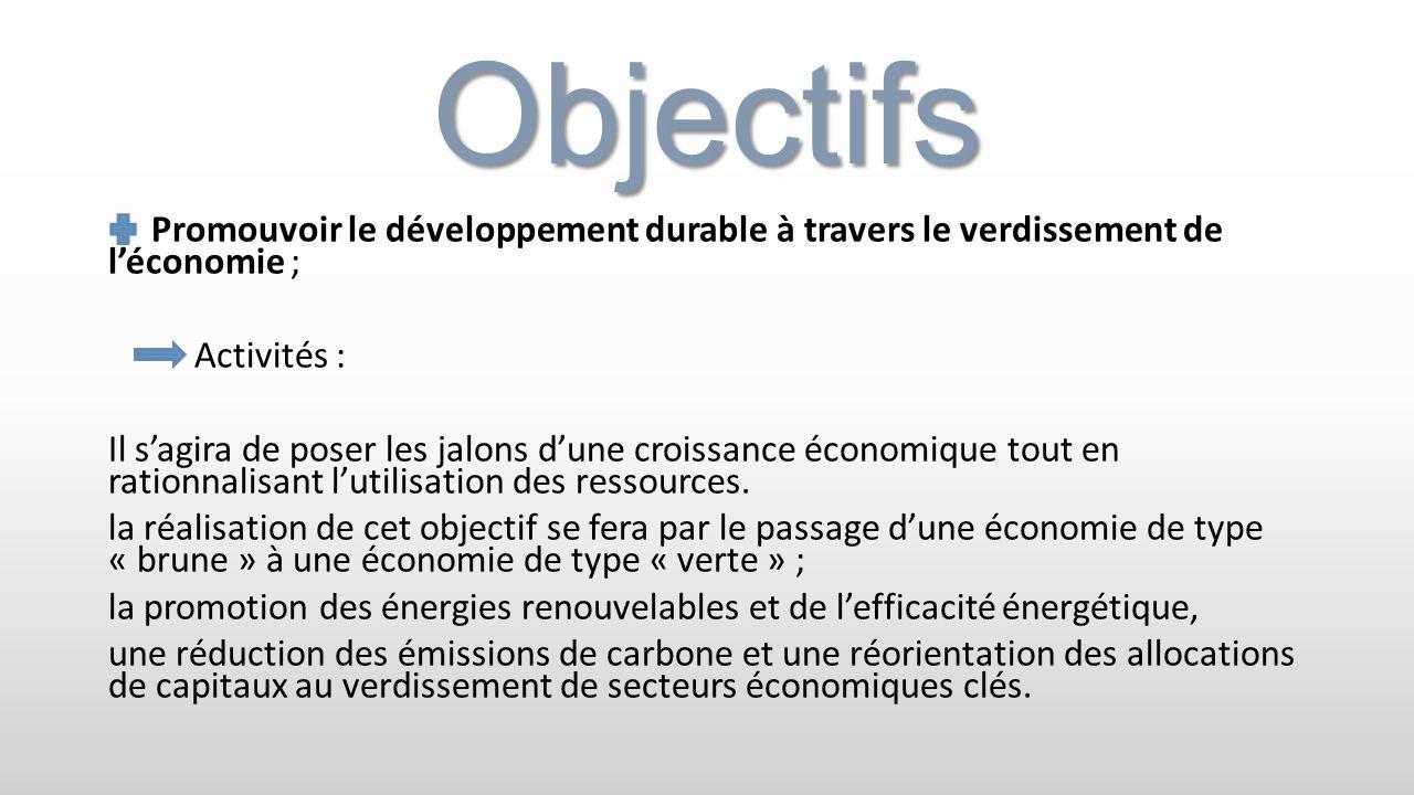 Objectifs Promouvoir le développement durable à travers le verdissement de léconomie ; Activités : Il sagira de poser les jalons dune croissance écono