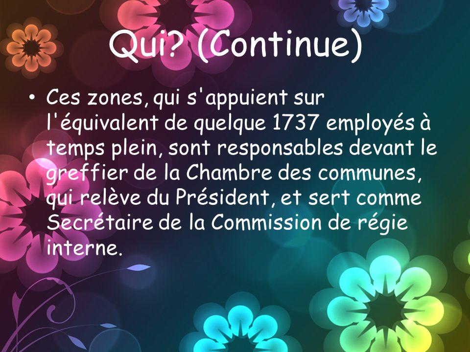Qui? (Continue) Ces zones, qui s'appuient sur l'équivalent de quelque 1737 employés à temps plein, sont responsables devant le greffier de la Chambre