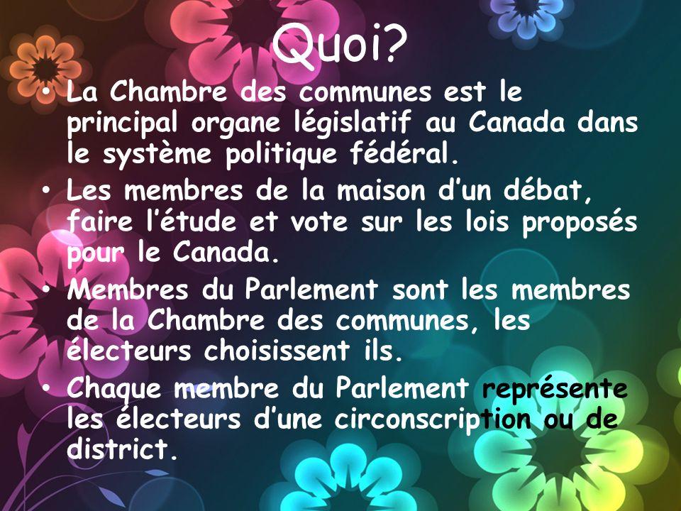 Quoi? La Chambre des communes est le principal organe législatif au Canada dans le système politique fédéral. Les membres de la maison dun débat, fair