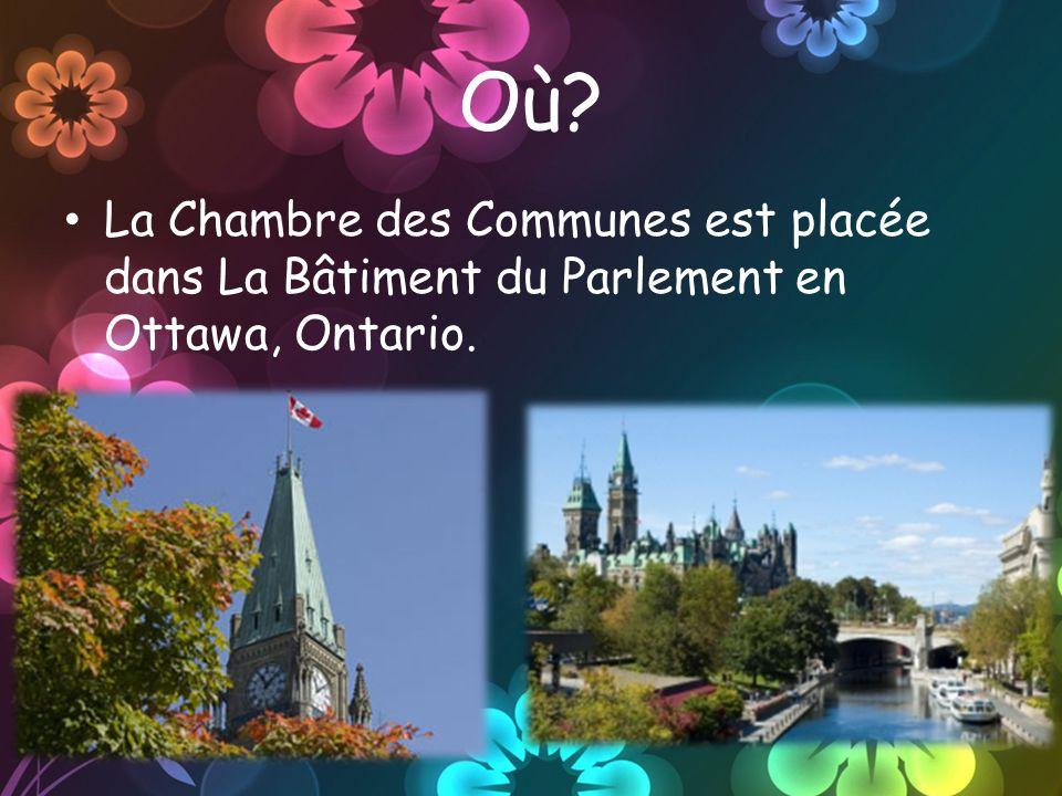 Où? La Chambre des Communes est placée dans La Bâtiment du Parlement en Ottawa, Ontario.