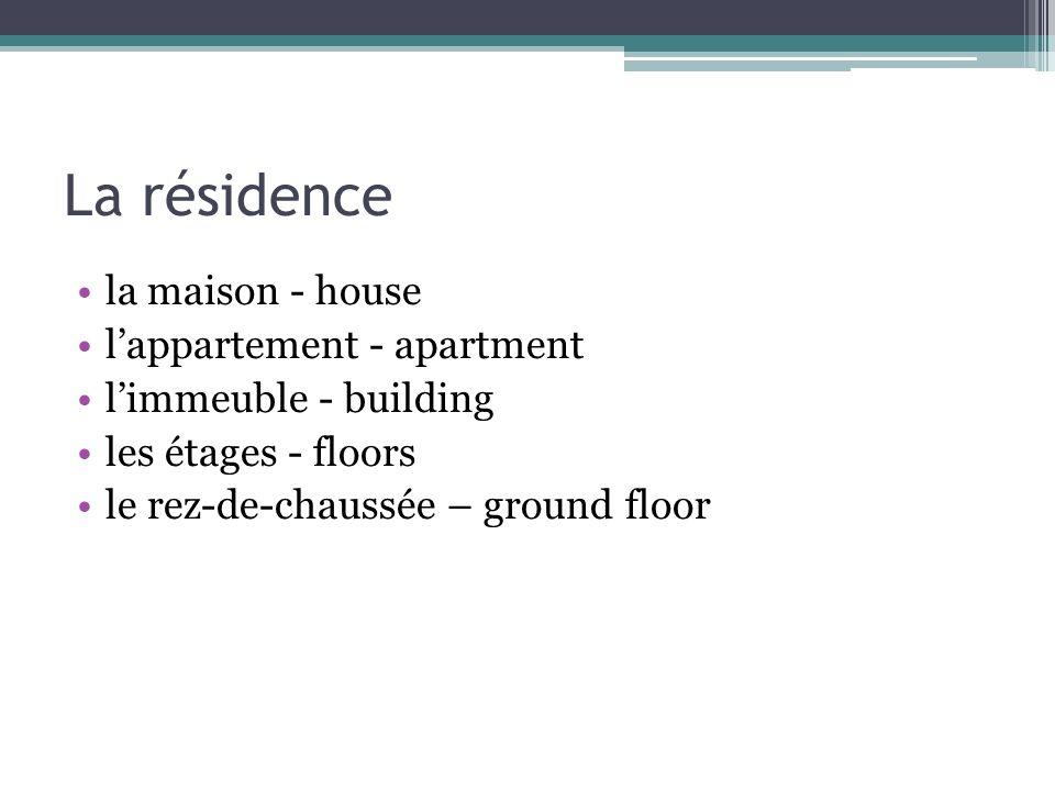 La résidence la maison - house lappartement - apartment limmeuble - building les étages - floors le rez-de-chaussée – ground floor