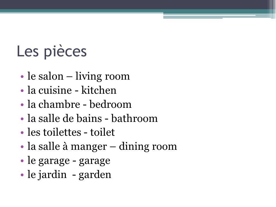Les pièces le salon – living room la cuisine - kitchen la chambre - bedroom la salle de bains - bathroom les toilettes - toilet la salle à manger – di