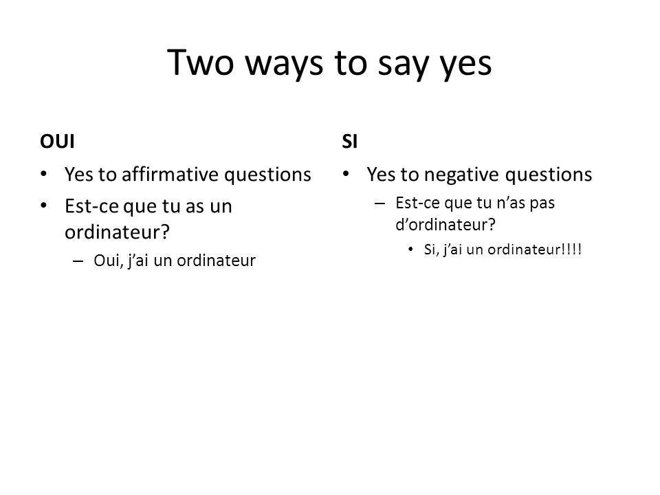 Two ways to say yes OUI Yes to affirmative questions Est-ce que tu as un ordinateur.