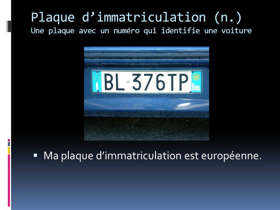 Plaque dimmatriculation (n.) Une plaque avec un numéro qui identifie une voiture Ma plaque dimmatriculation est européenne.