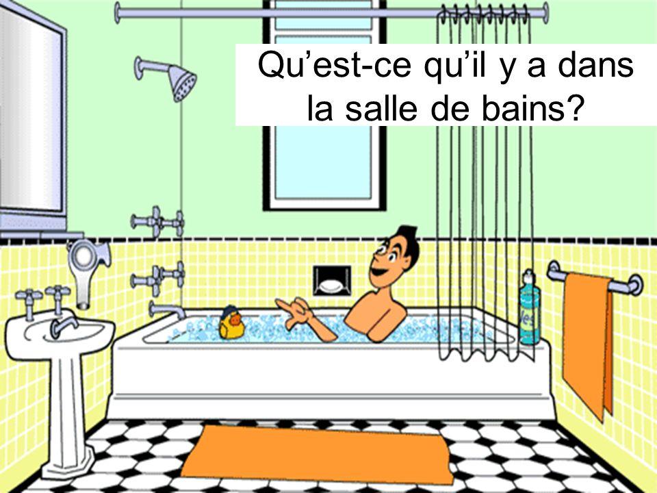 Quest-ce quil y a dans la salle de bains?