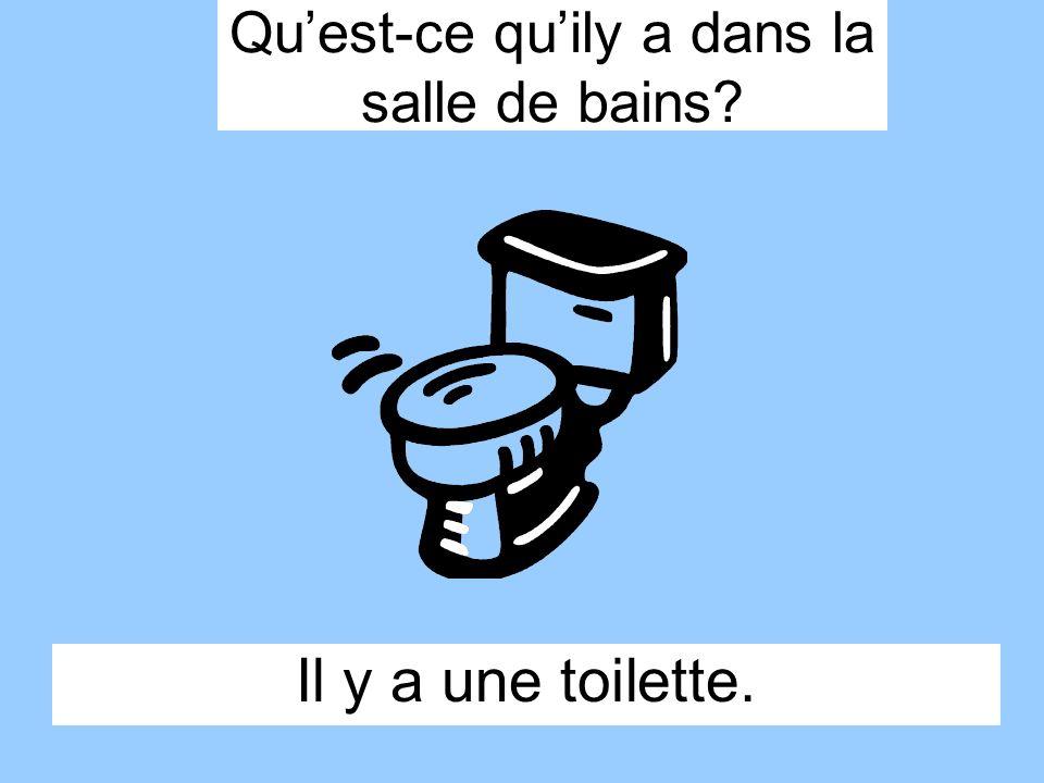 Il y a une toilette. Quest-ce quily a dans la salle de bains?