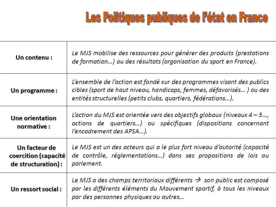 Cinq paramètres: Un contenu : Un programme : Une orientation normative : Un facteur de coercition : Un ressort social : La mise en place des activités