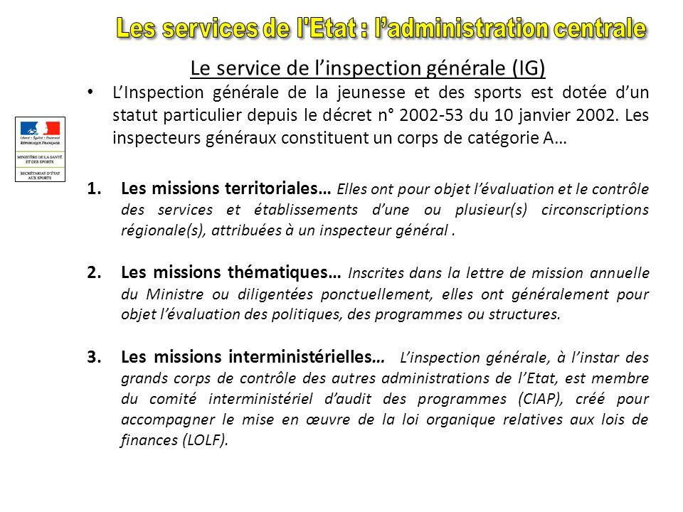 Ladministration comporte deux grandes entités : Une administration centrale Lorganisation du secrétariat dEtat Le secrétariat dEtat aux Sports comprend actuellement, outre le bureau du cabinet et le haut fonctionnaire de défense : 1.