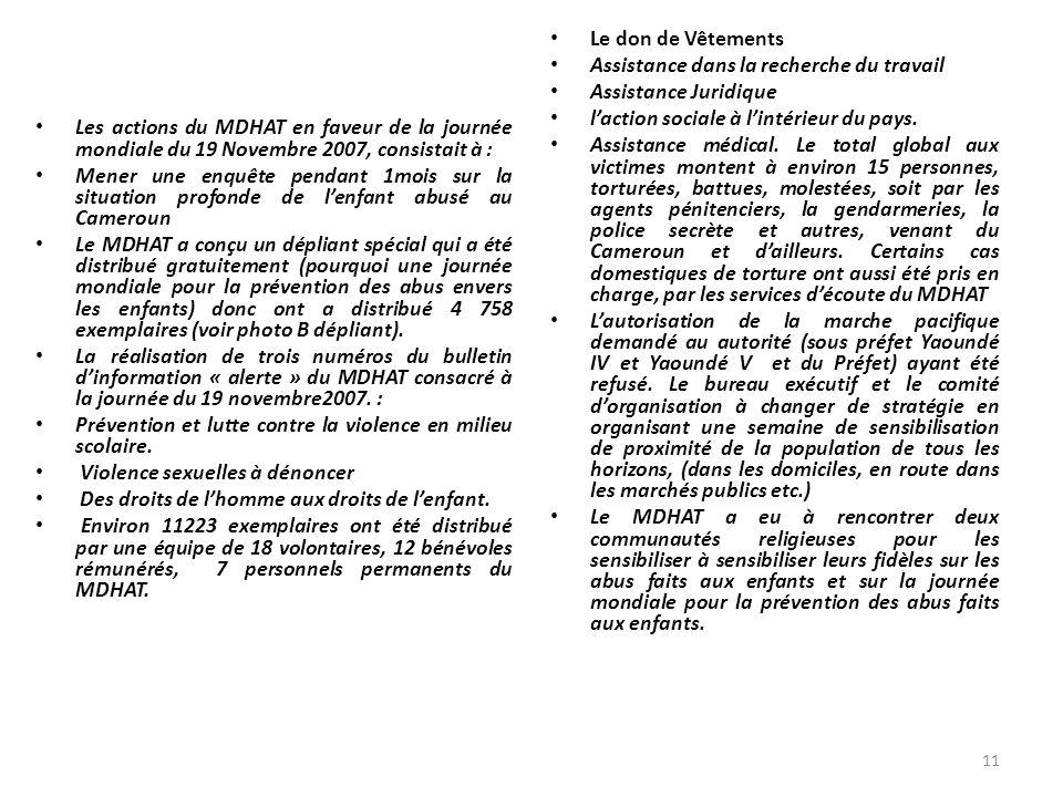Les actions du MDHAT en faveur de la journée mondiale du 19 Novembre 2007, consistait à : Mener une enquête pendant 1mois sur la situation profonde de
