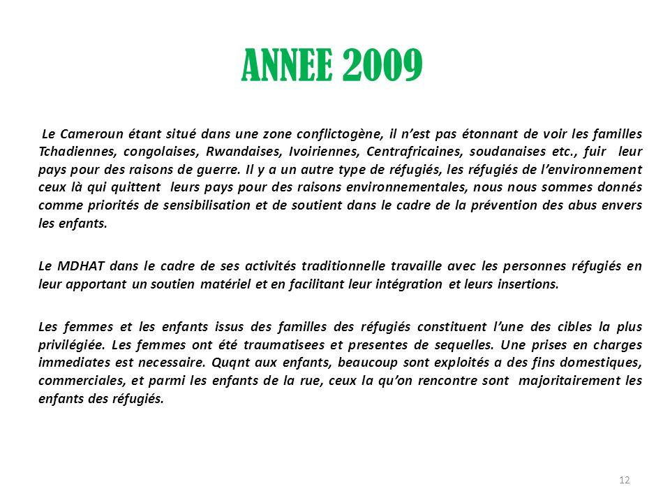 ANNEE 2009 Le Cameroun étant situé dans une zone conflictogène, il nest pas étonnant de voir les familles Tchadiennes, congolaises, Rwandaises, Ivoiri