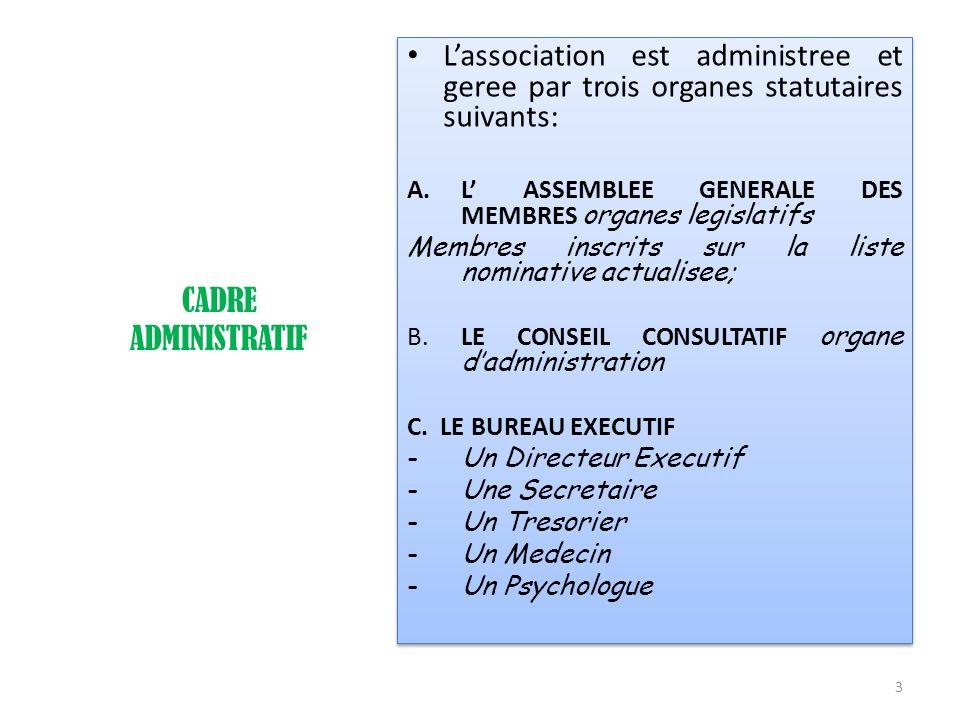CADRE ADMINISTRATIF Lassociation est administree et geree par trois organes statutaires suivants: A.L ASSEMBLEE GENERALE DES MEMBRES organes legislati