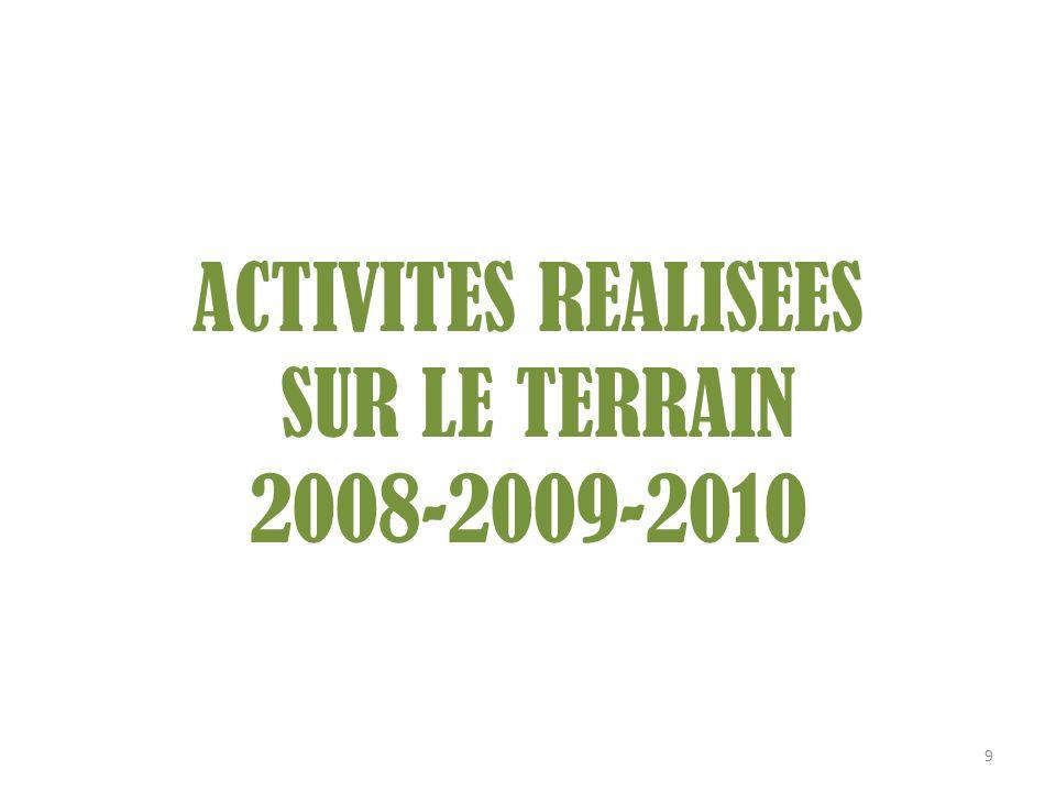 ACTIVITES REALISEES SUR LE TERRAIN 2008-2009-2010 9
