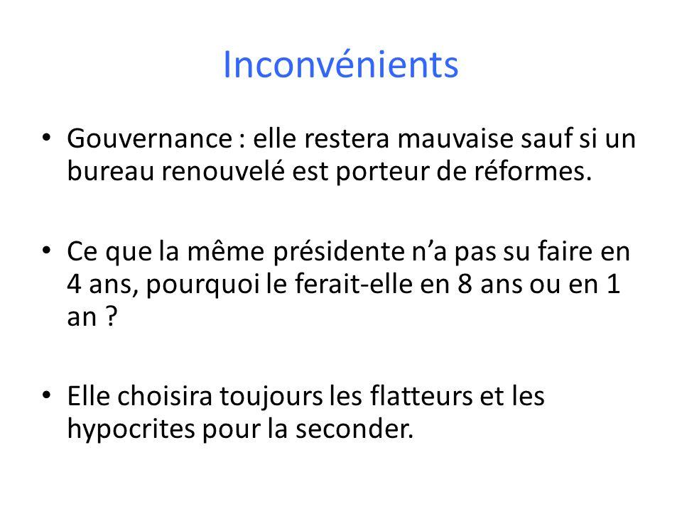 Inconvénients Gouvernance : elle restera mauvaise sauf si un bureau renouvelé est porteur de réformes.
