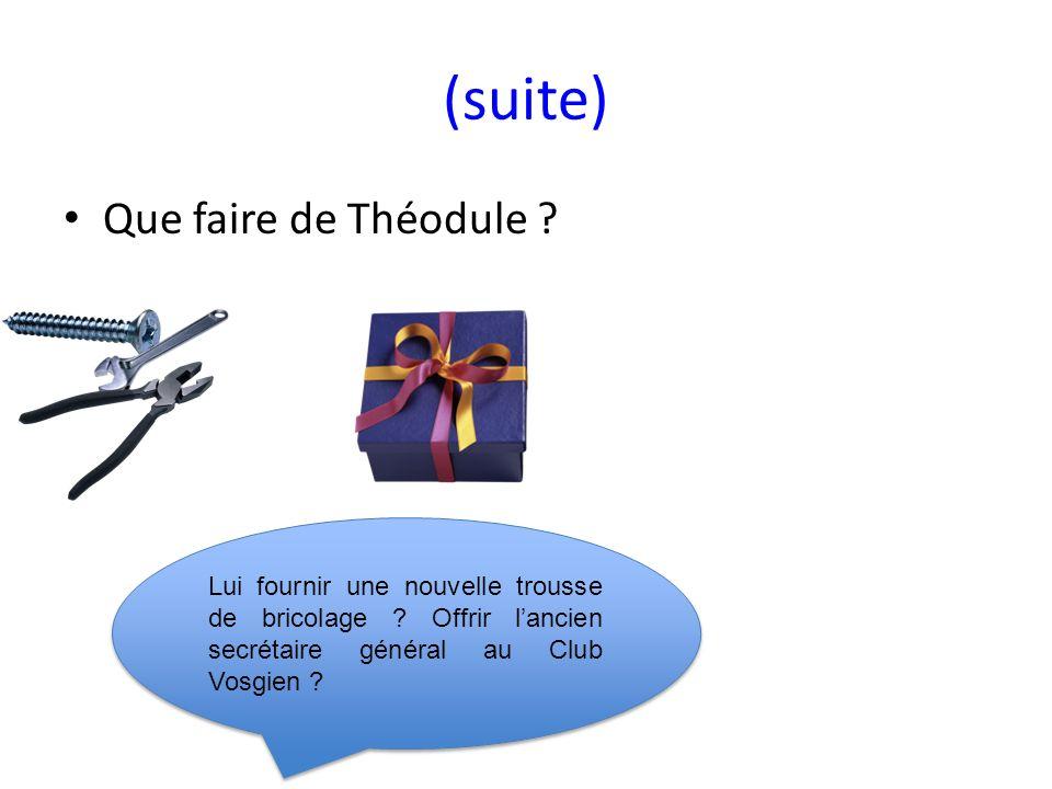 (suite) Que faire de Théodule .Lui fournir une nouvelle trousse de bricolage .