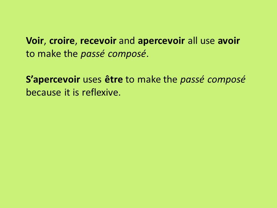 Voir, croire, recevoir and apercevoir all use avoir to make the passé composé. Sapercevoir uses être to make the passé composé because it is reflexive