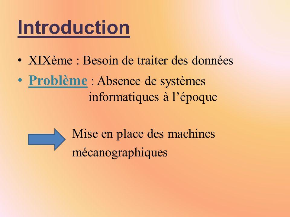 Introduction XIXème : Besoin de traiter des données Problème : Absence de systèmes informatiques à lépoque Mise en place des machines mécanographiques