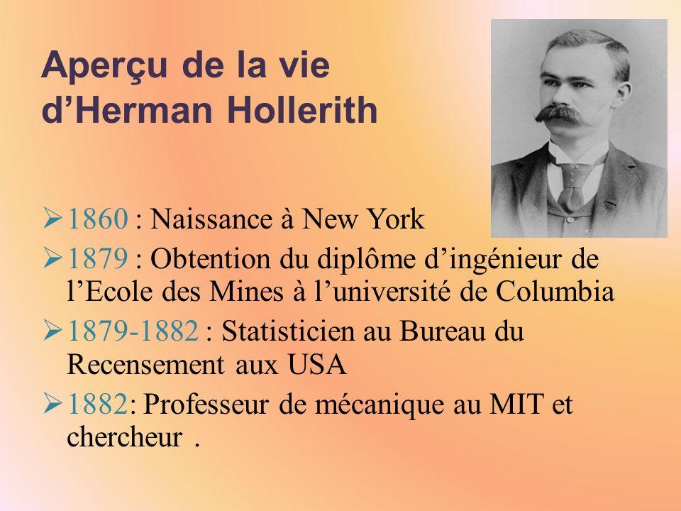 Aperçu de la vie dHerman Hollerith 1860 : Naissance à New York 1879 : Obtention du diplôme dingénieur de lEcole des Mines à luniversité de Columbia 1879-1882 : Statisticien au Bureau du Recensement aux USA 1882: Professeur de mécanique au MIT et chercheur.