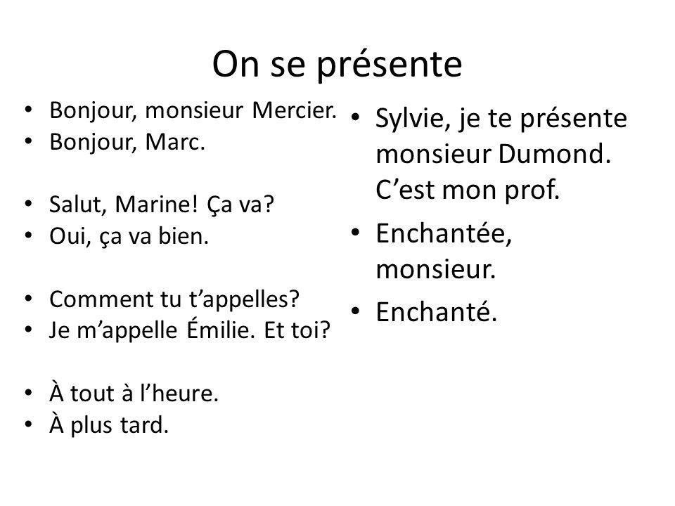 Comment dit on … en français.What is our name. Comment tu tappelles.
